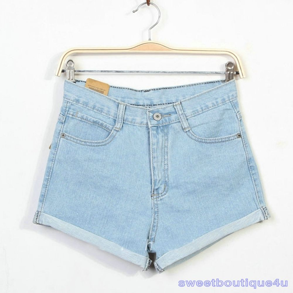 Fashion Women ladies Vintage Denim High Waist Light Blue Jean ...