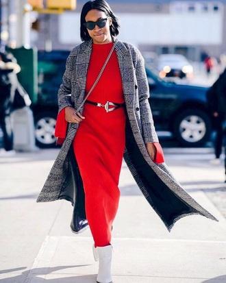 dress maxi knit dress coat plaid coat plaid boots white boots bag maxi dress knitted dress