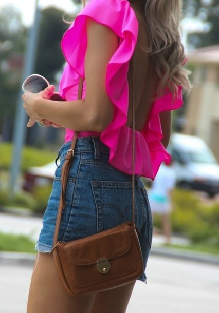 shirt pink top open back ruffle clothes shorts blouse