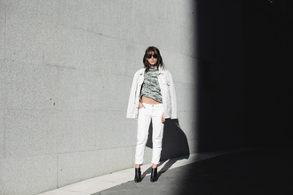 lucitisima blogger denim jacket white jeans