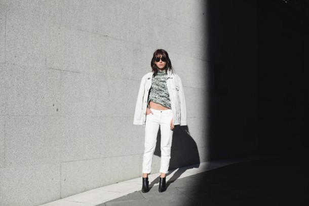 lucitisima blogger denim jacket white jeans