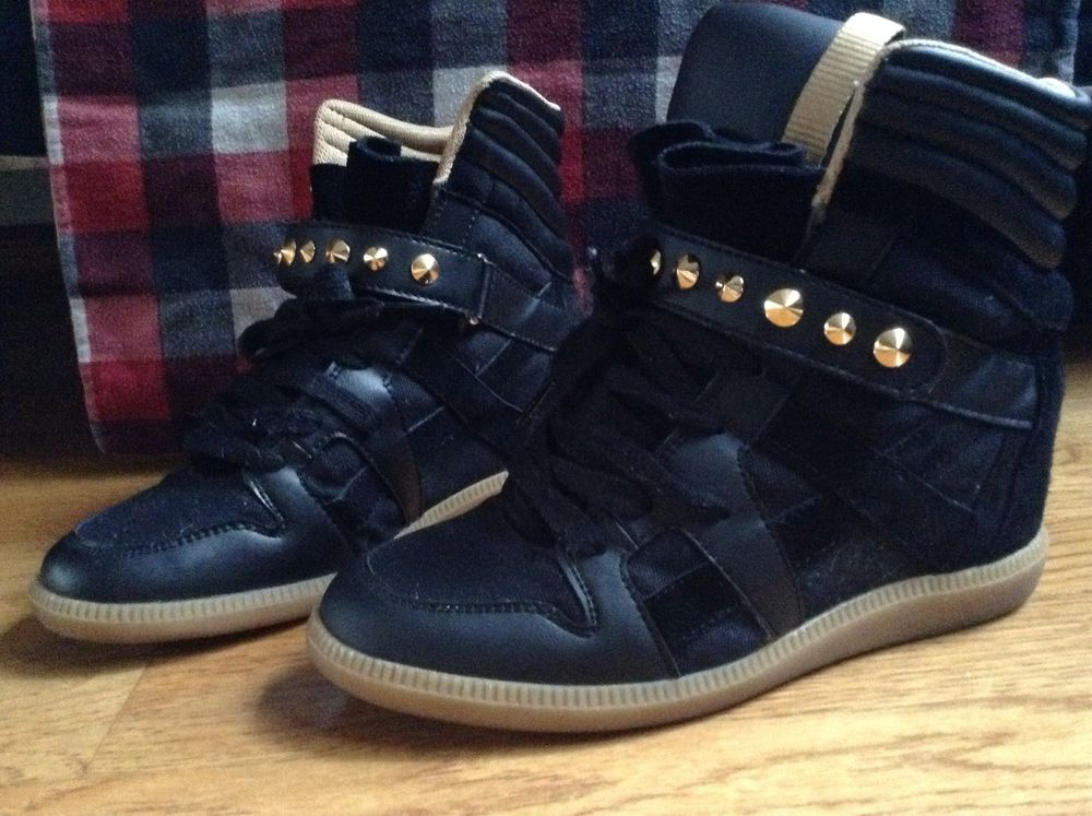 f422c892ad3 Zara Black High Top Suede Leather Wedge Sneakers Studded Gold ...