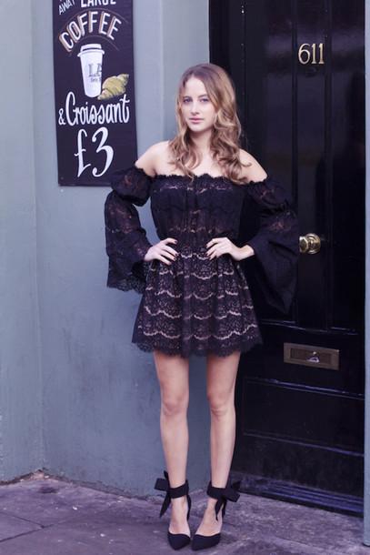 at fashion forte blogger off the shoulder dress lace dress black dress black heels