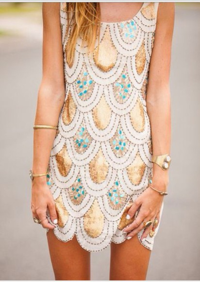 dress scalloped gold blue dots