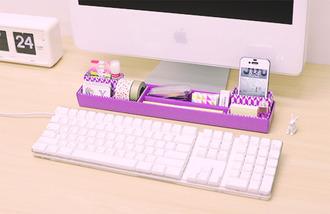 clock alarm apple pastel white home decor purple desk