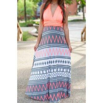 dress fashion style trendy hot pattern long dress coral maxi rose wholesale-feb