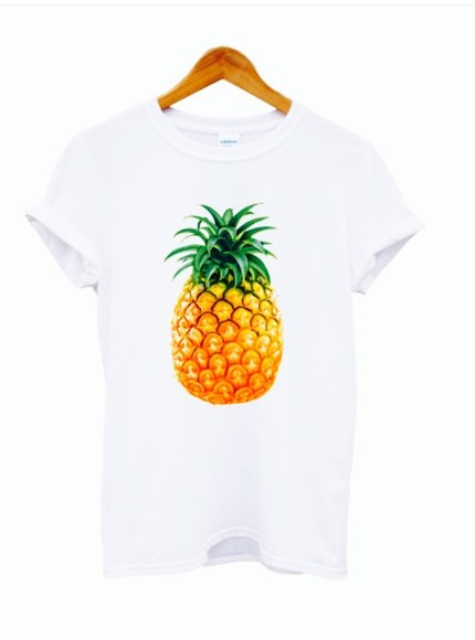 food t-shirt vans, floral, indie, hippie, hipster, grunge, shoes, girly, tomboy, skater graphic tee pineapple print pineapple fruit