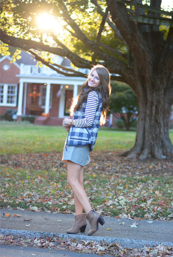 southern curls and pearls blogger jacket stripes quilted vest vest striped top skirt grey skirt mini skirt boots brown boots ankle boots mid heel boots