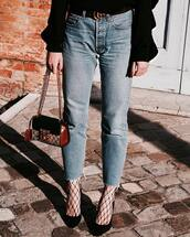 jeans,tumblr,mom jeans,blue jeans,denim,tights,net tights,fishnet tights,pumps,pointed toe pumps,high heel pumps,black heels,heels,high heels,bag,mini bag,chain bag,gucci,gucci belt,logo belt,frayed denim
