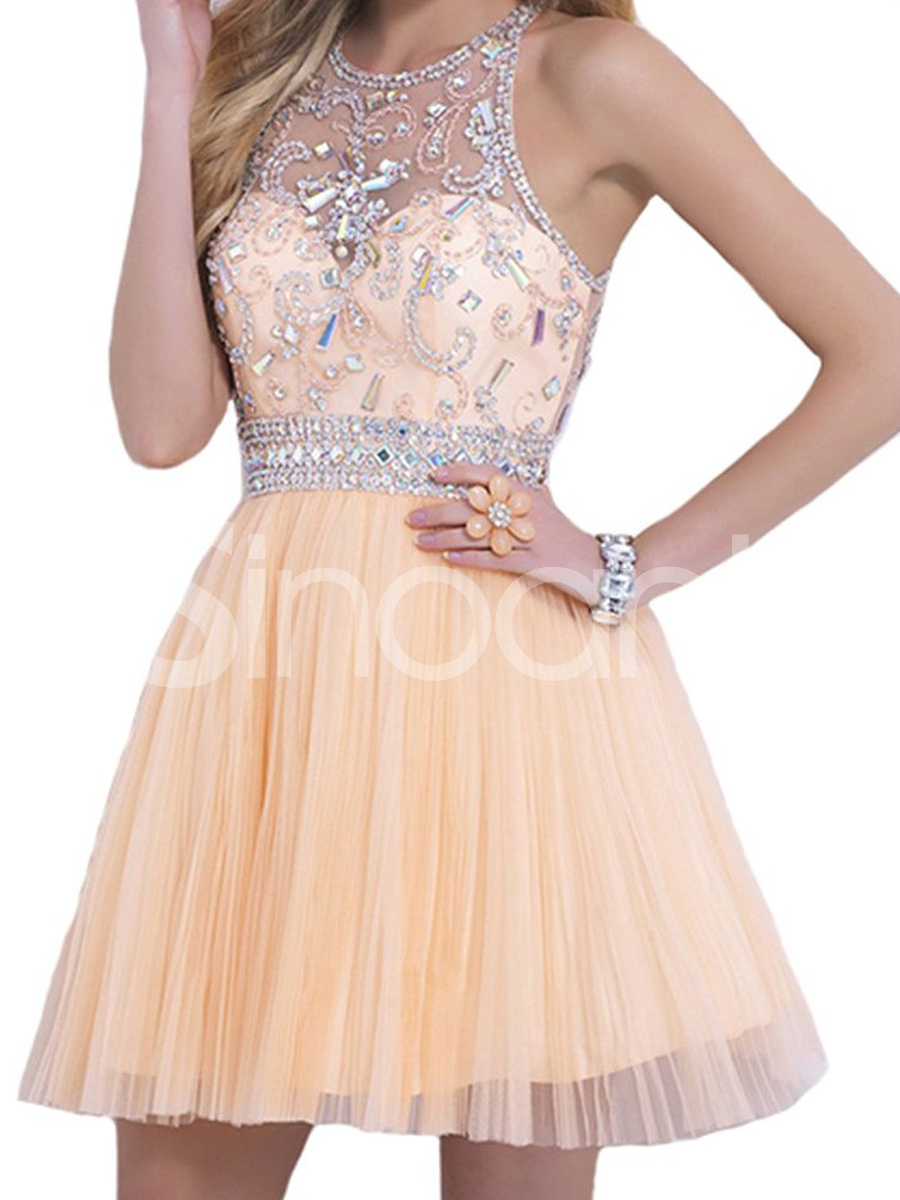 Buy Top New Rhinestoned Light Champagne A-line Round Neckline Mini Graduation Dress/ Homecoming Dress/ Prom Dress under 300-SinoAnt.com
