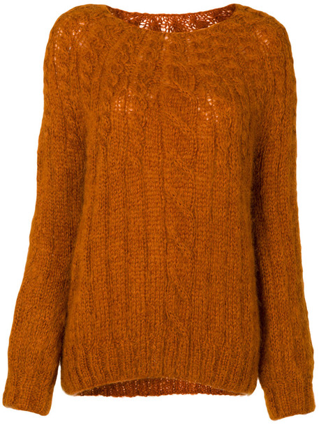 MES DEMOISELLES jumper women mohair yellow orange sweater