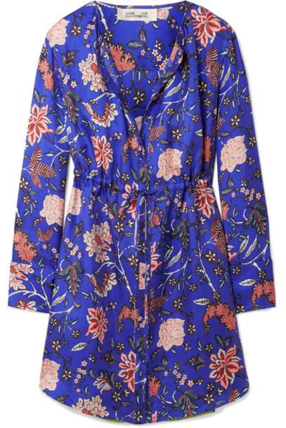Diane Von Furstenberg dress mini dress mini blue silk bright