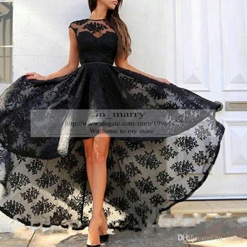 Fashion Black Plus Size Lace Evening Couture Dresses Prom Gowns 2015
