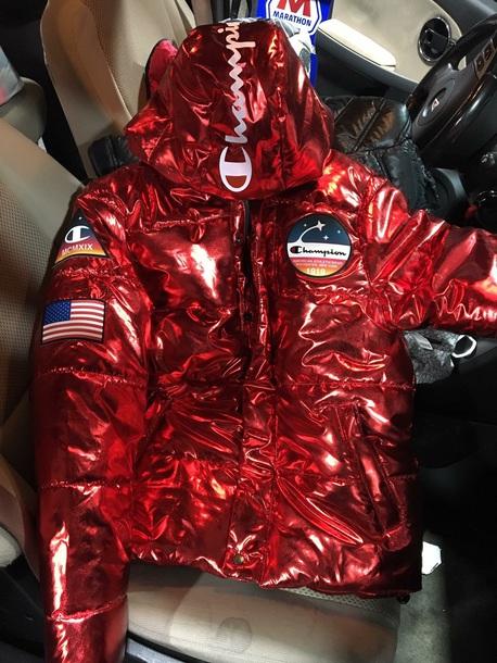 coat red metallic champion coatt jacket