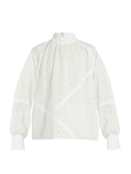 MSGM top lace cotton white