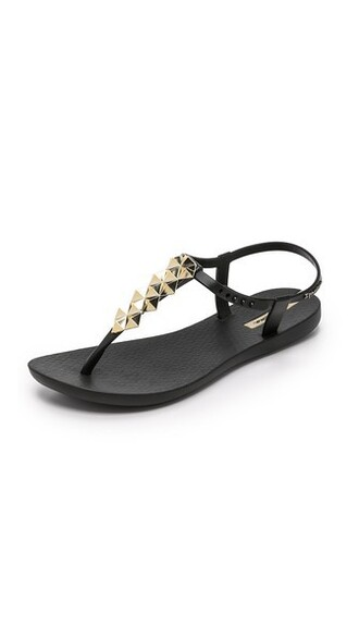 sandals gold black shoes