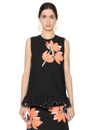 top embellished floral black