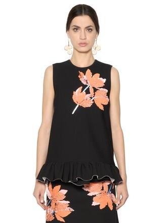 top embellished floral black