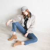 kristina magdalina,blogger,hat,coat,jeans,shoes,faux fur,ankle boots,winter outfits,leather jacket