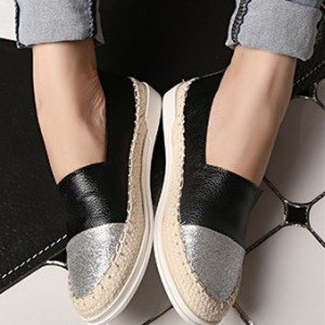 women's Black and Silver Round Toe Leather Comfortable Flats