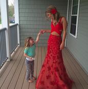 dress,prom,prom dress,formal,floral,red dress,long dress