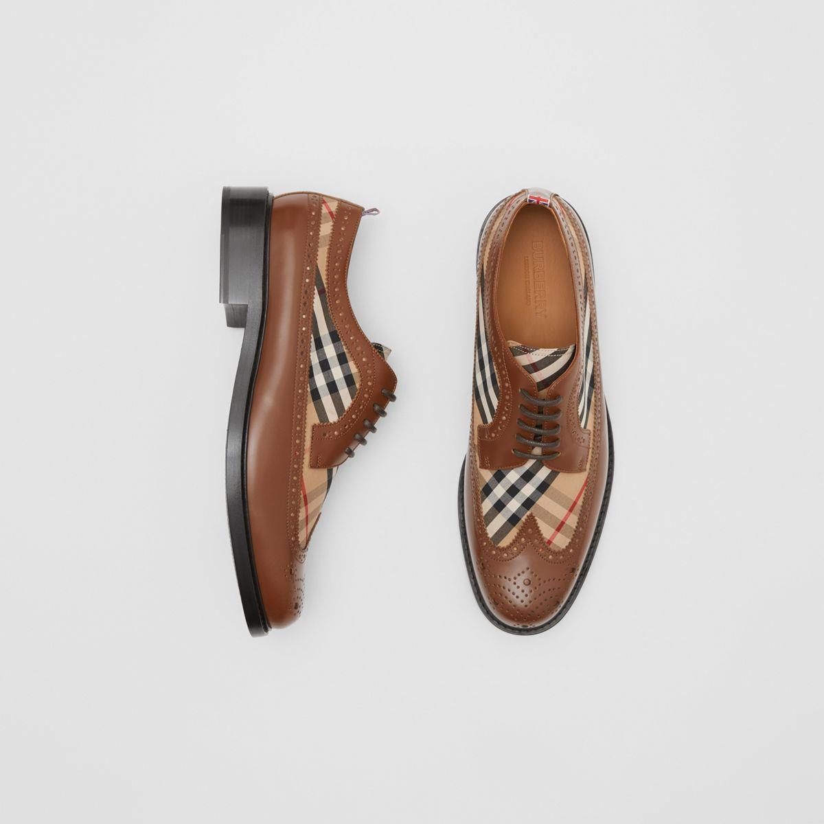 Brogue Detail Leather and Vintage Check Derby Shoes