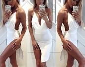 dress,deep v bodycon dress,metal sling dress,white short dress leg slitt,white dress,deep v dress,white metal sling dress,short white bodycon dress