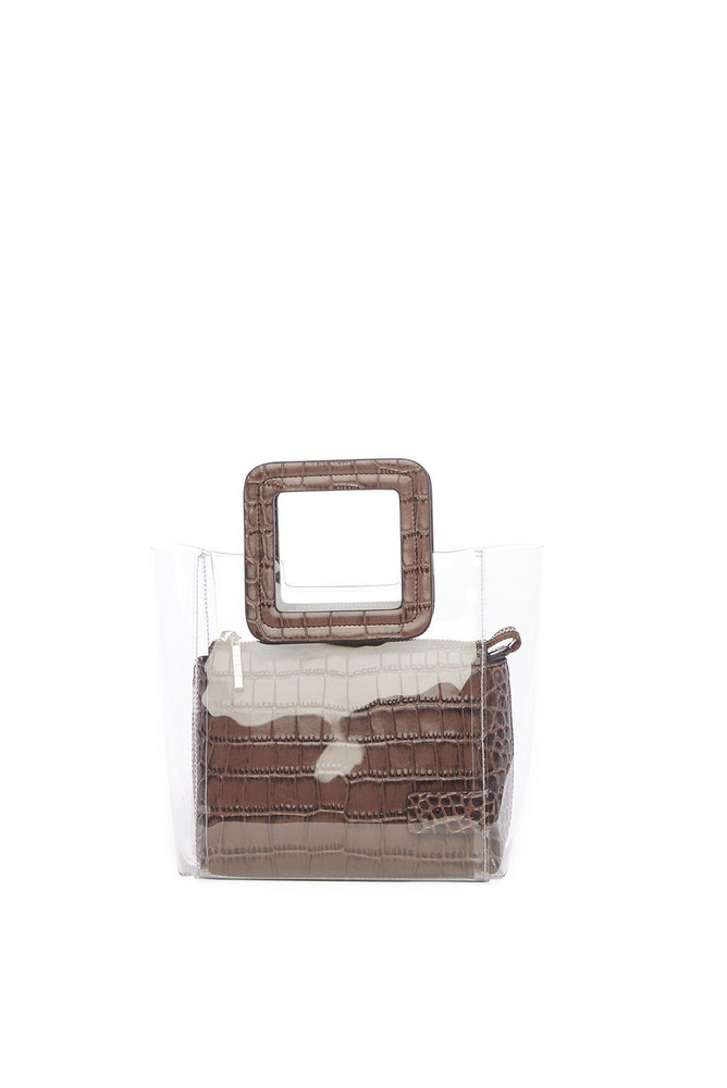Staud MINI SHIRLEY BAG | CLEAR BROWN CROC EMBOSSED