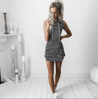 dress girl girly girly wishlist stripes striped dress mini dress black white sleeveless sleeveless dress hoodie dress