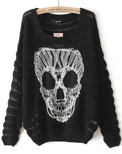 Black long sleeve lace skull pattern sweater