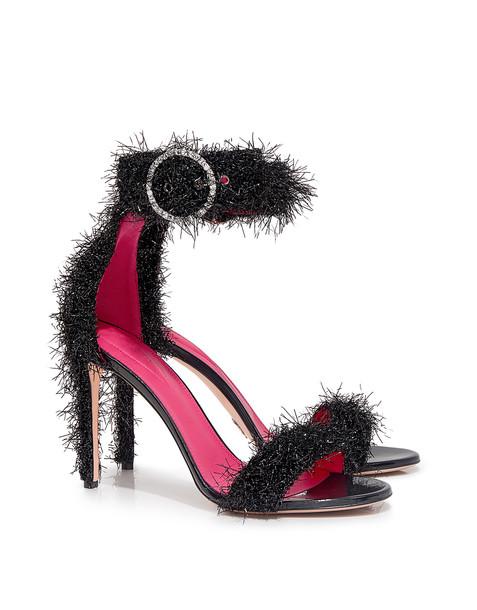 Oscar Tiye metallic sandals black shoes