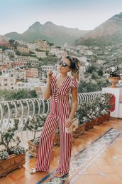 jumpsuit,red and white,striped jumpsuit,stripes,sandals,bag,gucci bag,sunglasses