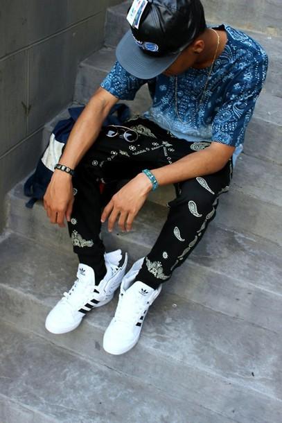 pants, bandana print, bandana, white, adidas, blue shirt ...