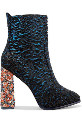 suede ankle boots jacquard boots ankle boots leather blue suede shoes