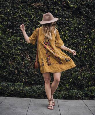 dress tumblr hat mini dress yellow dress yellow mustard three-quarter sleeves embroidered embroidered dress sandals flat sandals spring outfits spring dress