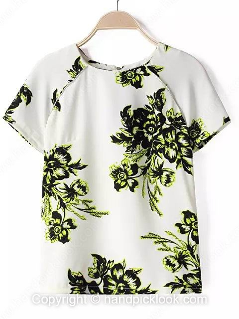 White Round Neck Short Sleeve Flower Print Zip T-Shirt - HandpickLook.com