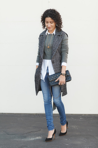 alterations needed blogger jacket sweater shirt jeans shoes bag jewels