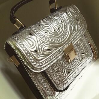 bag silver handbag metallic embroidery