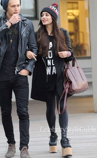 t-shirt vanessa hudgens oversized oversized jacket beanie wedged shoes shoes hat bag coat