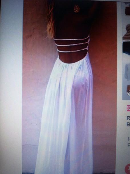 dress white strappy white dress long dress