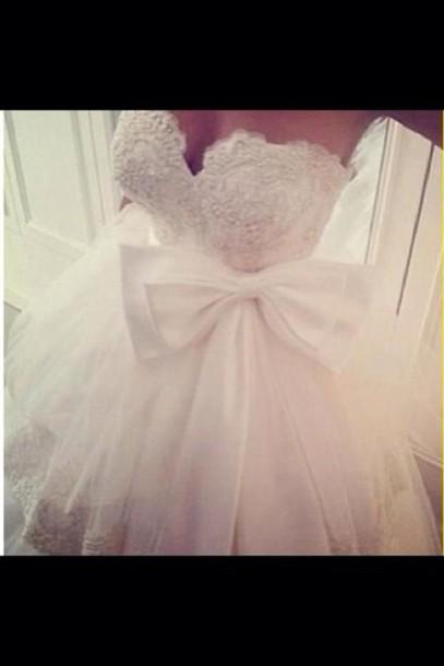 dress white dress wedding dress bow dress tulle wedding dress bow lace white