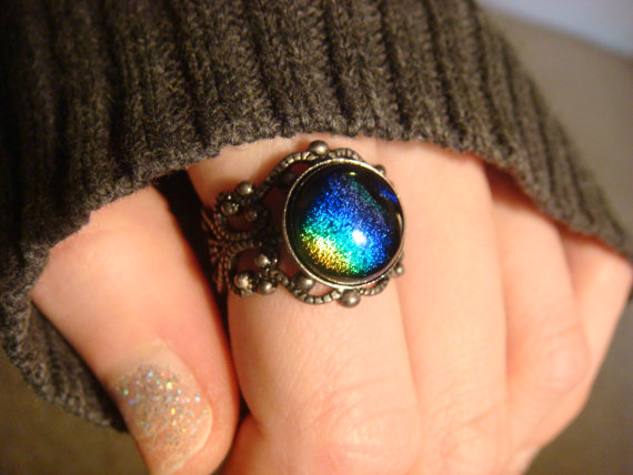 Antique Silver Ox Dichroic Glass Galaxy Ring   by ClockworkAlley