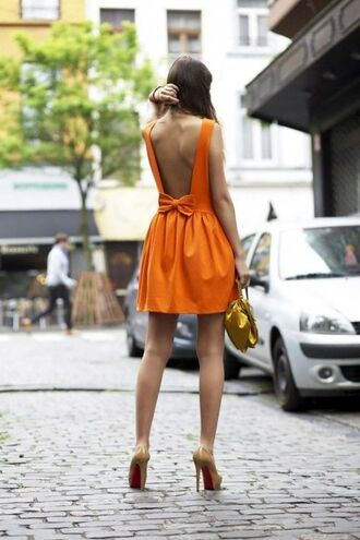 dress orange dress backless dress bow tangerine open back dresses bow dress bows bow back dress orange backless bag gold bag pumps nude pumps summer outfits summer dress