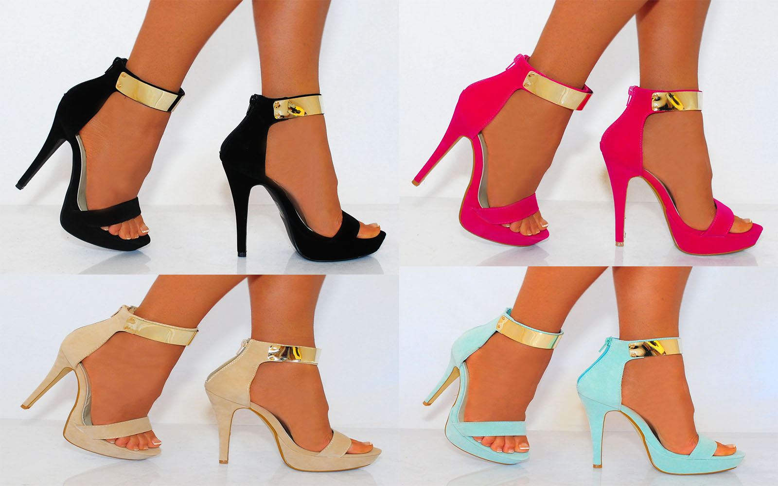 METAL ANKLE CUFF STRAP STRAPPY SANDALS PEEP TOES STILETTO HIGH ...