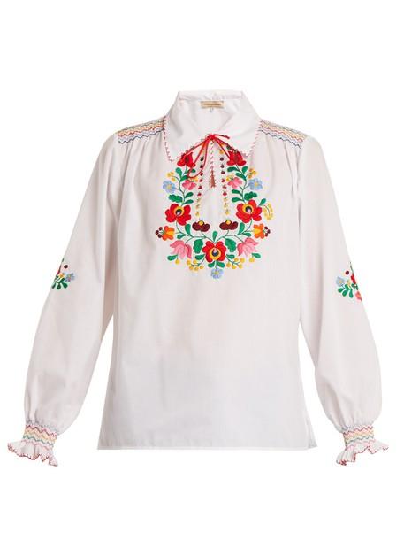 Muzungu Sisters shirt embroidered cotton white top