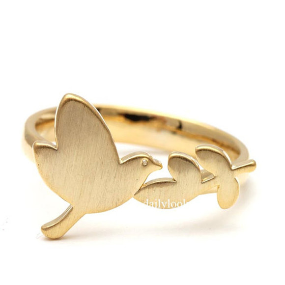 jewels gold ring woman ring adjustable ring bird ring leaf ring bird jewelry cute ring bridesmaid ring stretch ring bird and leaf ring