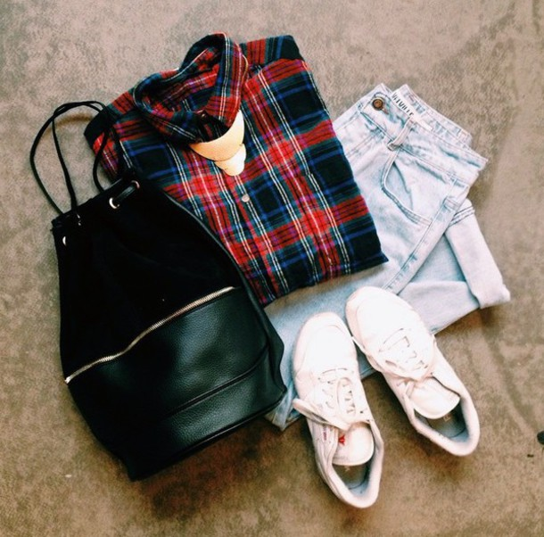 shirt checkered fashion clothes shoes white red navy jeans acid wash trendy vibes style