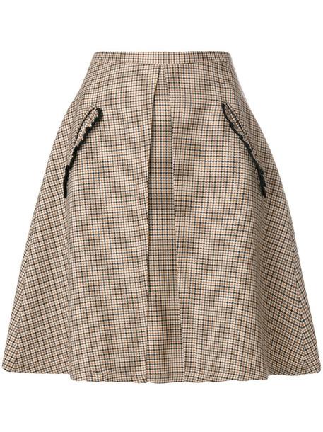 skirt women wool brown