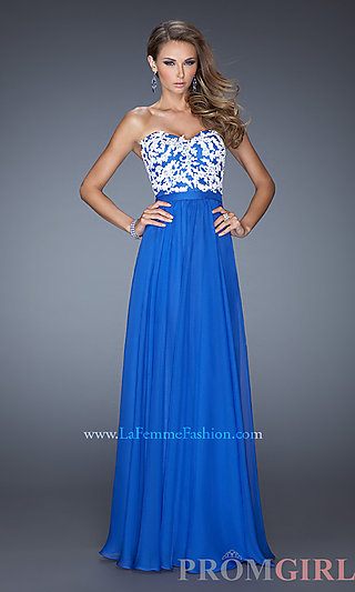 Long Strapless Formal Dress, La Femme Strapless Gowns- PromGirl