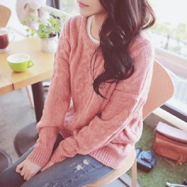sweater pink shirt pink winter sweater winter sweater winter outfits cute pastel pastel color knitted sweater knitwear winter outfits dark hair jeans